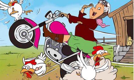 In Beckum fährt unsere Oma im Hühnerstall Motorrad