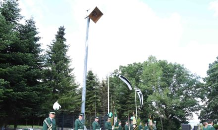 """Bruderschaft Garbeck ist mächtig stolz auf neue Vogelstange auf dem """"Holloh"""""""